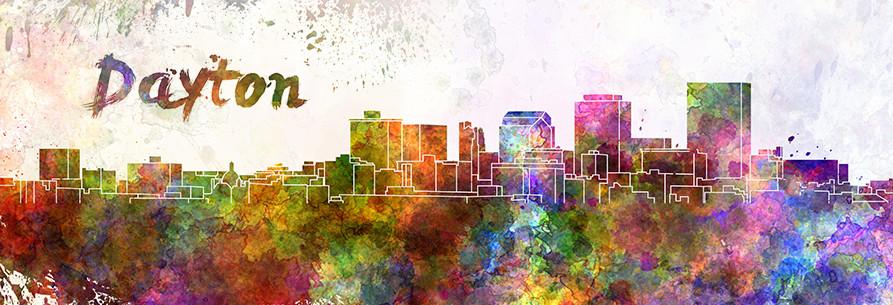Colorful Dayton skyline