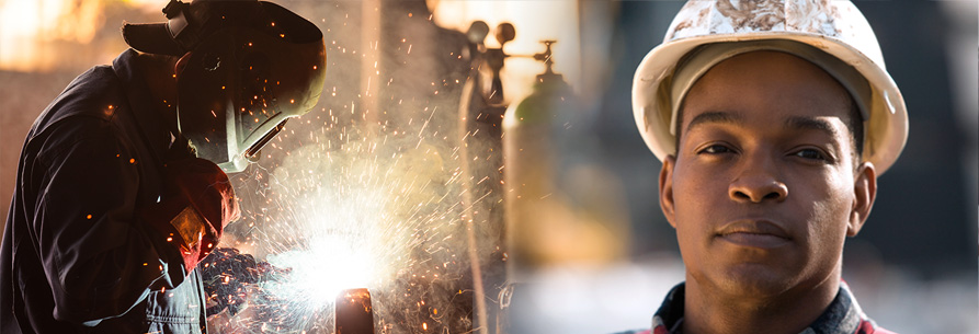Construction worker and a welder