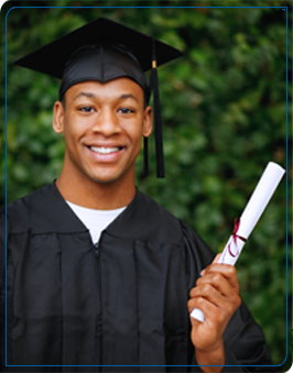 Male graduate wearing a mortar board and robe holds up a diploma
