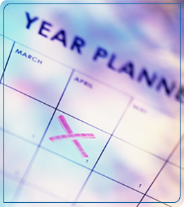 Calendar page with a date crossed out