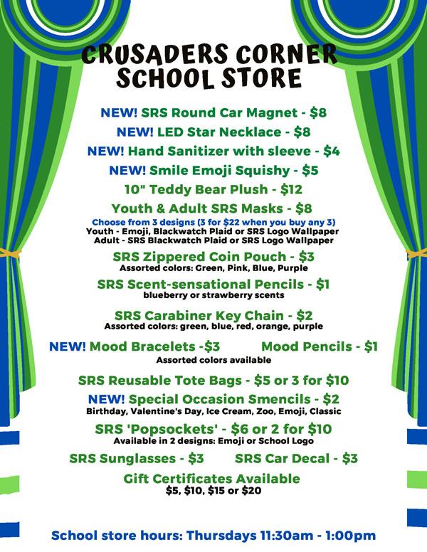 Crusaders Corner School Store flyer