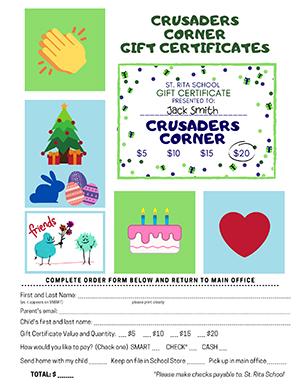 Crusader Corner Store Gift Certificate Order Form