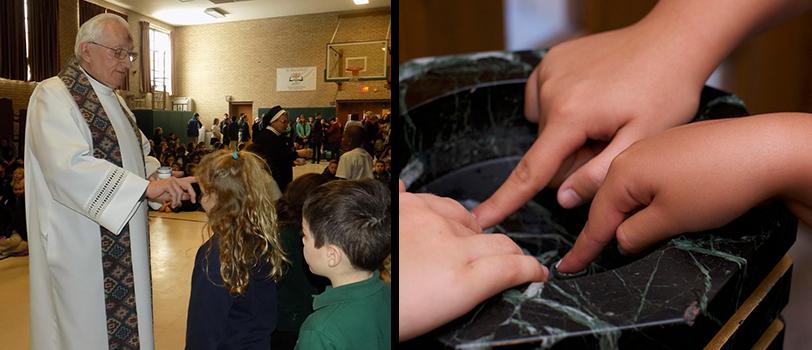 Students practice religious service