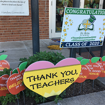 Thank you teacher signs decorated in front of school