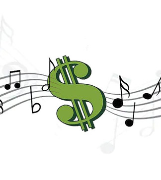 Dollar sign and music notes