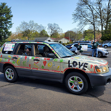 St. Rita family car decorated with LOVE