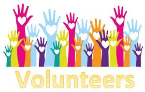 clip art hands raised over the word Volunteers