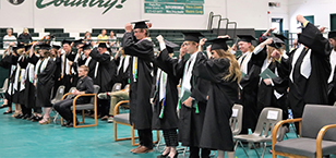 Group of seniors wearing green banners