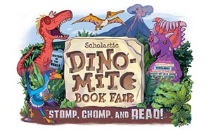 Scholastic Dino-mite Book Fair logo. Stomp, Chomp, and Read!