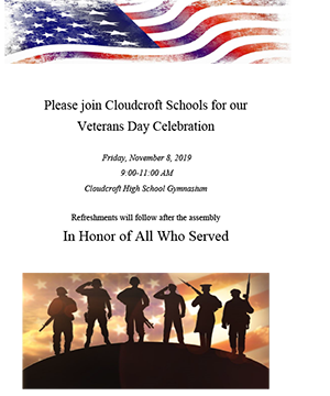 Cloudcroft Schools for our Veterans Day celebration on Friday, November 8, 2019, from 9:00 to 11:00 a.m. in the Cloudcroft High School gymnasium