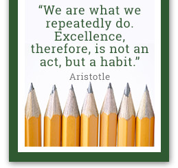 We are what we repeatedly do. Excellence, therefore, is not an act, but a habit. - Aristotle