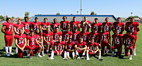 Football players posing for a group picture