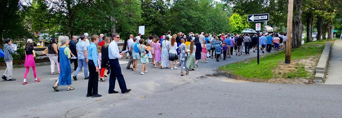 People walking the Corpus Christi Procession