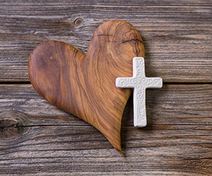 Wooden Heart and Cross