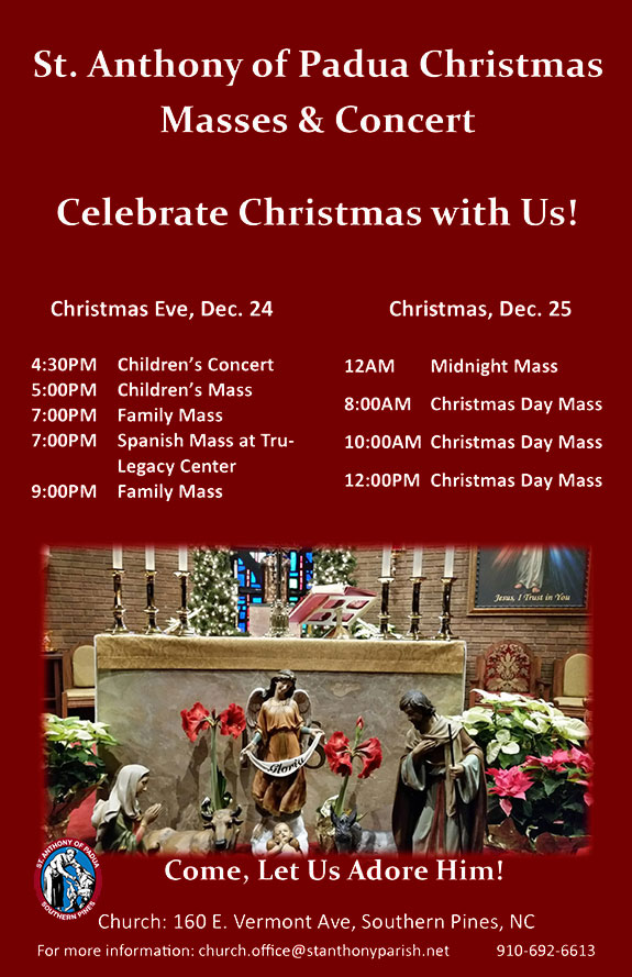 St. Anthony of Padua Christmas Masses and Concert