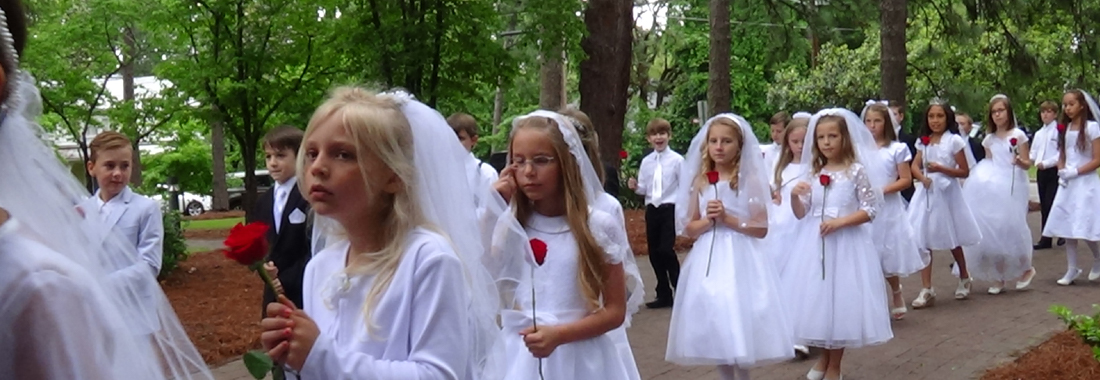 little girls in white dresses