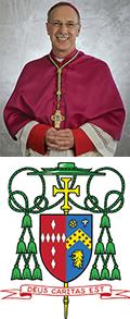 Bishop Luis Rafael Zarama and a coat of arms reading Deus Caritas Est