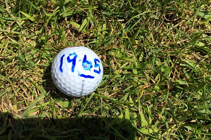 Golf ball in grass with 1965 written
