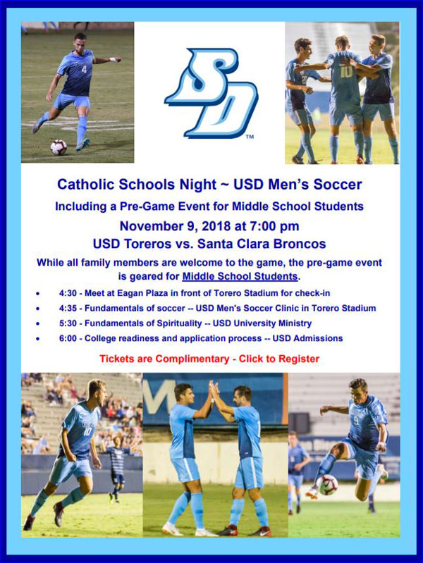 Catholic Schools Night at USD Men's Soccer Flier