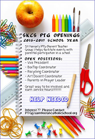 SKCS PTG Openings 2018 to 2019 school year Saint Kierans PTG Parent Teacher Group helps facilitate events with parental participation in a school Open Positions Vice President Box Top Coordinator Recycling Coordinator Art Docent Coordinator Parents in Prayer Leader Great way to be involved and earn service hours Help needed If you are interested please contact PTG at saint kieran catholic school dot org