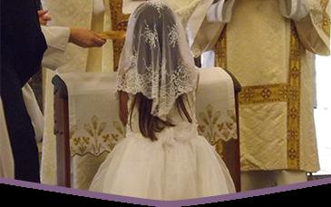 Girl participates in religious activity