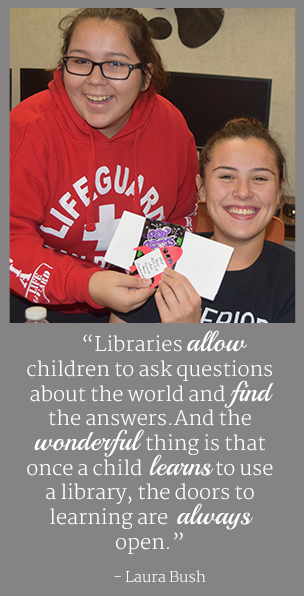 Libraries allow children to ask questions about the world and find the answers. And the wonderful thing is that once a child learns to use a library, the doors to learning are always open. - Laura Bush