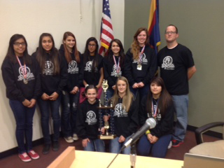 Coach Kevin White and State Champion Ruth Fisher Girls Volleyball Team