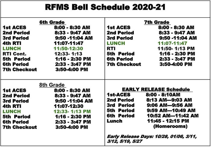 RFMS Bell Schedule