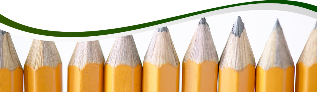 Nine pencils lined up next to each other