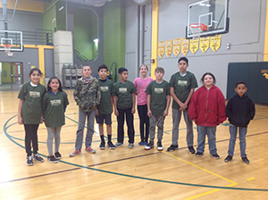 Students wearing their 100 mile club t-shirts