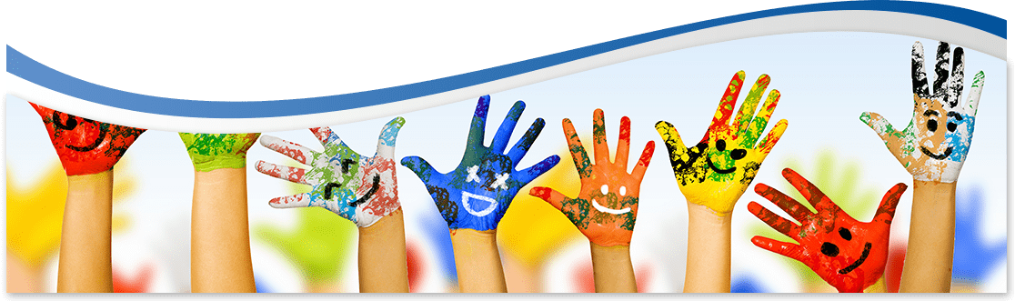 row of raised children's hands painted with bright colors and happy faces