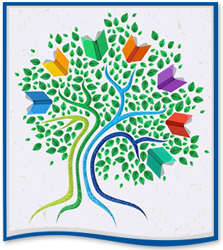 drawing of a tree with colorful books