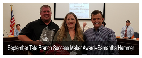September Tate Branch Success Maker Award--Samantha Hammer