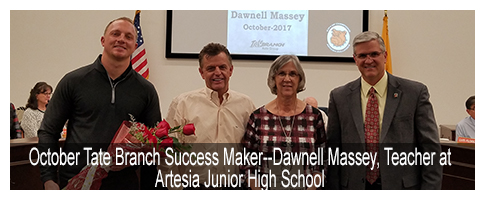 October Tate Branch Success Maker--Dawnell Massey, Teacher at Artesia Junior High School