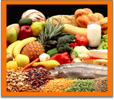 Fruit, vegetables, bread, beans and fish