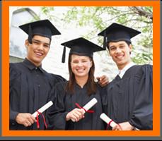 Three graduates pose together