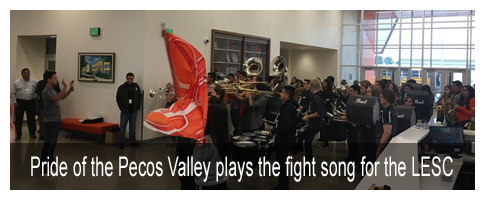 Pride of the Pecos Valley plays the fight song for the LESC