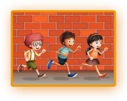 Students running clipart