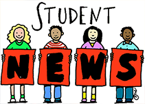Cartoon students holding up a sign that says student news