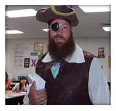 Teacher dressed as a pirate