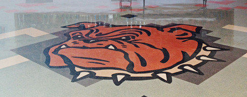 Bulldog logo on floor