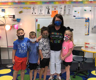 Mrs. Pam Wilever with her students