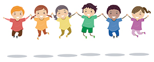 Happy kids holding hands and jumping