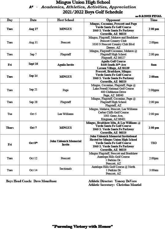 Boys Golf Schedule