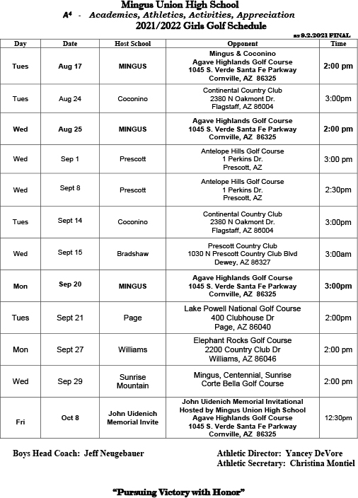 Girls Golf Schedule