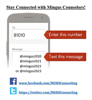 Stay Connected! Enter this number: 81010 Text this message: @mingus2019, @mingus 2020, @mingus2021, or @mingus2022 www.facebook.com/MUHSCounseling https://twitter.com/MUHSCounseling