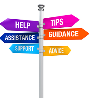 Signs reading help, assistance, support, tips, guidance, advice