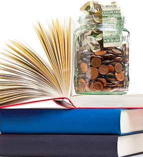 Stacked books and money jars