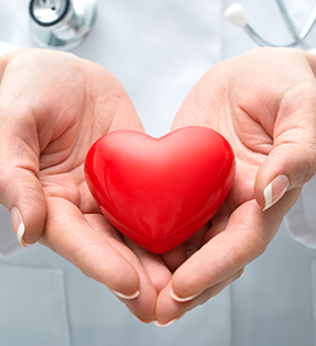 Doctor hands holding a heart