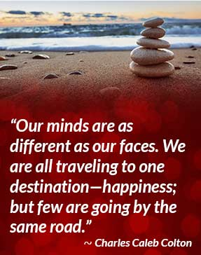 Our minds are as different as our faces. We are all traveling to one destination - happiness; but few are going by the same road. - Charles Caleb Colton